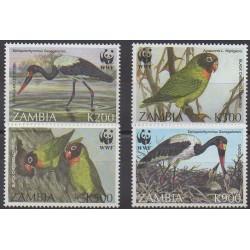Zambie - 1996 - No 607/610 - Oiseaux - Espèces menacées - WWF