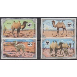 Mongolia - 1985 - Nb 1361/1364 - Mamals - Endangered species - WWF