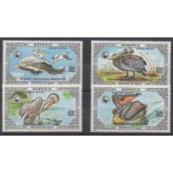 Mongolie - 1986 - No 1481/1484 - Oiseaux - Espèces menacées - WWF