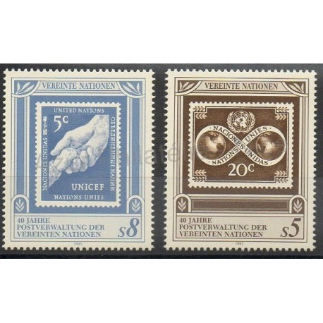 United Nations (UN - Vienna) - 1991- Nb 129/130 - Stamps on stamps