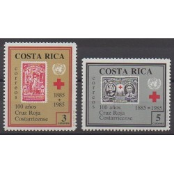 Costa Rica - 1985 - No 407/408 - Santé ou Croix-Rouge - Timbres sur timbres