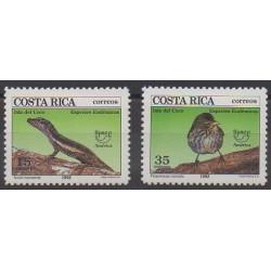 Costa Rica - 1992 - No 559/560 - Espèces menacées - WWF - Service postal