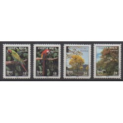 Costa Rica - 1990 - Nb 536/539 - Birds - Trees - Postal Service