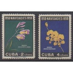 Cuba - 1958 - No 496/497 - Noël - Orchidées