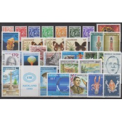 New Caledonia - Complete year - 1990 - Nb 587/606 - PA265/PA275 - BF10