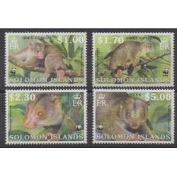 Salomon (Iles) - 2002 - No 982/985 - Mammifères - Espèces menacées - WWF