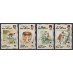 Brunei - 1991 - Nb 431/434 - Mamals - Endangered species - WWF