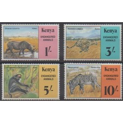 Kenya - 1985 - Nb 348/351 - Mamals - Endangered species - WWF