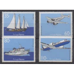 Portugal (Azores) - 1991 - Nb 411/414 - Boats - Planes