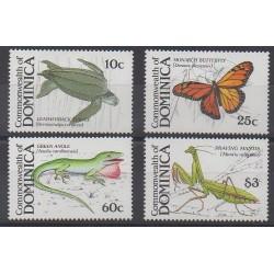 Dominique - 1988 - No 1080/1083 - Reptiles - Insectes