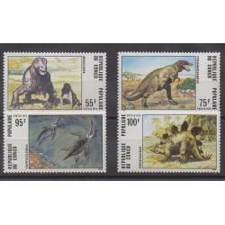 Congo (République du) - 1975 - No 401/404 - Animaux préhistoriques
