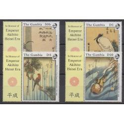 Gambie - 1989 - No 801/804 - Peinture - Oiseaux