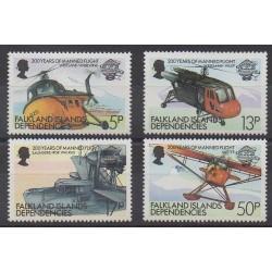 Falkland-Géorgie du Sud - 1983 - No 116/119 - Aviation - Hélicoptères