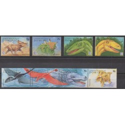 Dominique - 1995 - Nb 1798/1805 - Prehistoric animals