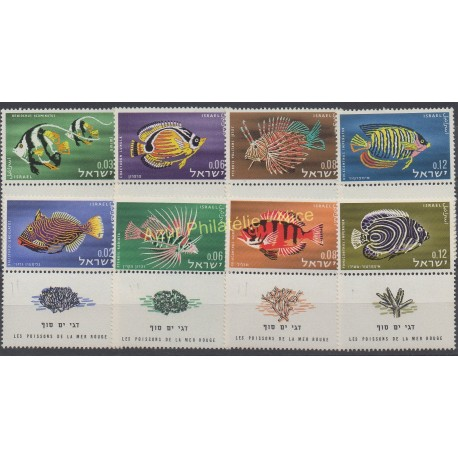 Stamps - Theme fishes - Israel - 1962 - Nb 225/228 - 242/245