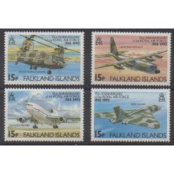 Falkland - 1993 - Nb 594/597 - Planes - Helicopters
