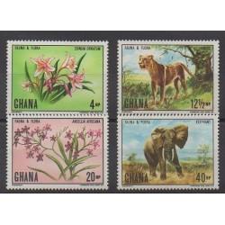 Ghana - 1970 - Nb 390/393 - Flowers - Mamals
