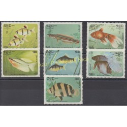 Cambodge - 1985 - No 597/603 - Poissons