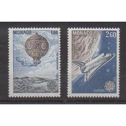 Monaco - Varieties - 1983 - Nb 1365a/1366a - Europa - Hot-air balloons - Airships - Space