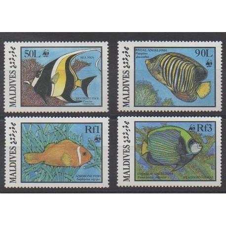 Maldives - 1986 - Nb 1077/1080 - Sea animals