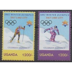 Ouganda - 2002 - No 2039/2040 - Jeux olympiques d'hiver
