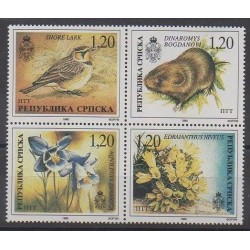 Bosnia and Herzegovina Serbian Republic - 1996 - Nb 39/42 - Flowers - Mamals