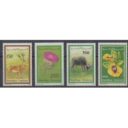 Tunisia - 1990 - Nb 1156/1159 - Flowers - Mamals
