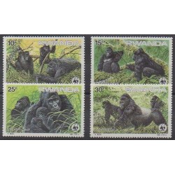 Rwanda - 1985 - Nb 1173/1176 - Mamals - Endangered species - WWF