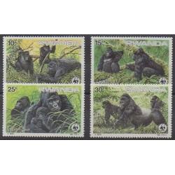 Rwanda - 1985 - No 1173/1176 - Mammifères - Espèces menacées - WWF