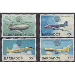 Barbade - 1983 - No 576/579 - Aviation - Ballons - Dirigeables