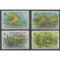 Barbade - 1991 - No 804/807 - Oiseaux - Espèces menacées - WWF