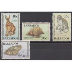 Barbade - 1989 - No 748/751 - Espèces menacées - WWF - Animaux