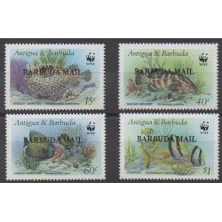 Barbuda - 1987 - 875/878 - Animaux marins - Espèces menacées - WWF