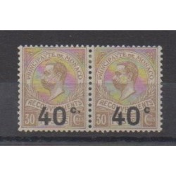 Monaco - Postage due - 1919 - Nb T12a attenant à normal - Mint hinged