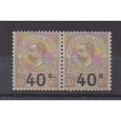 Monaco - Timbres-taxe - 1919 - No T12a attenant à normal - Neuf avec charnière