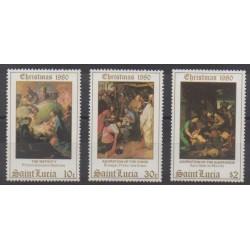 Sainte-Lucie - 1980 - No 523/525 - Noël - Peinture