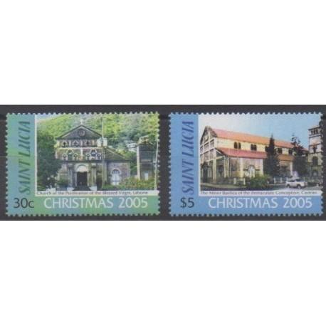 St. Lucia - 2005 - Nb 1220/1221 - Churches - Christmas