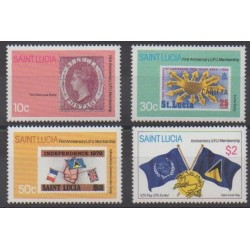 St. Lucia - 1981 - Nb 551/554 - Postal Service - Stamps on stamps