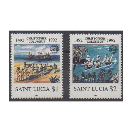 Sainte-Lucie - 1992 - No 979/980 - Christophe Colomb