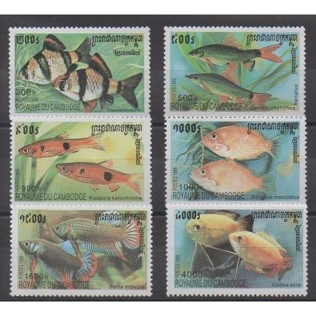 Cambodge - 1999 - No 1667/1672 - Animaux marins
