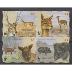 Argentine - 2002 - No 2320/2323 - Mammifères - Espèces menacées - WWF