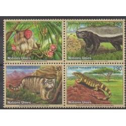 Nations Unies (ONU - Genève) - 2002 - No 447/450 - Animaux - Espèces menacées - WWF