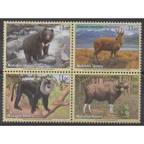 Nations Unies (ONU - Genève) - 2004 - No 494/497 - Mammifères - Espèces menacées - WWF