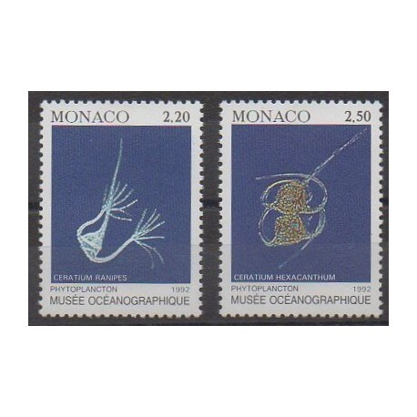 Monaco - 1992 - No 1850/1851 - Vie marine