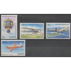 Saint-Christophe - 1983 - Nb 546/549 - Hot-air balloons - Airships - Planes