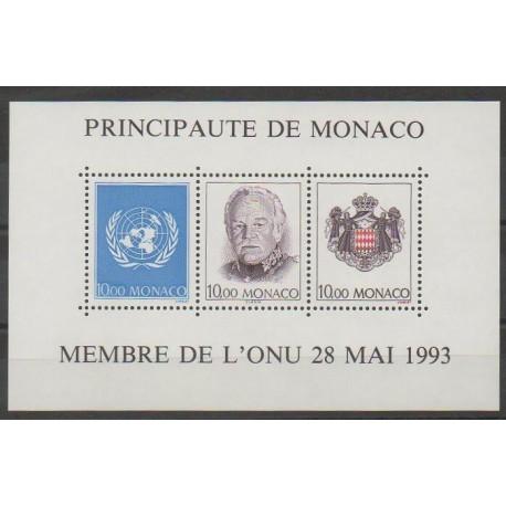 Monaco - Blocs et feuillets - 1993 - No BF62 - Nations unies