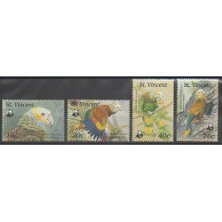 Saint Vincent - 1989 - Nb 1131/1134 - Birds - Endangered species - WWF
