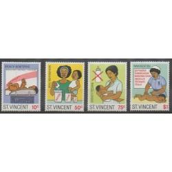 Saint-Vincent - 1987 - No 983/986 - Enfance - Santé ou Croix-Rouge