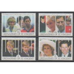 Saint-Vincent (Iles Grenadines) - 1991 - No 648/651 - Royauté - Principauté