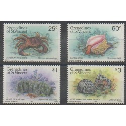 Saint-Vincent (Iles Grenadines) - 1985 - No 374/377 - Vie marine
